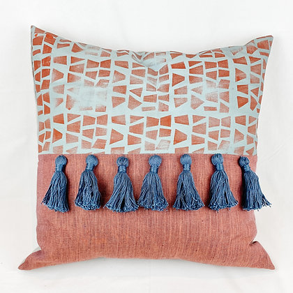 Pillow, Blue Geometric
