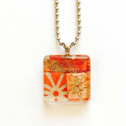 Necklace, Small Red Orange Square