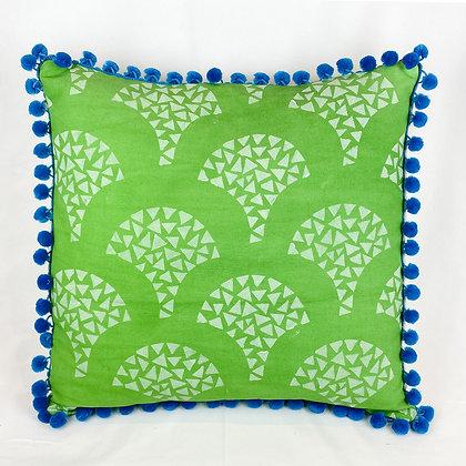 Pillow, Green Mosaic Scallops