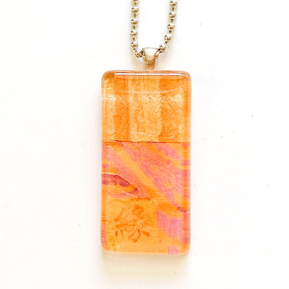 Necklace, Large Orange Rectangle