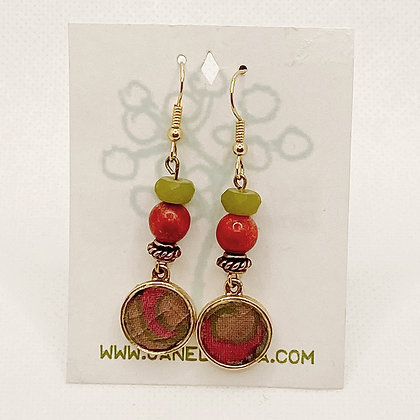 Earrings, Dark Coral Brass Circles