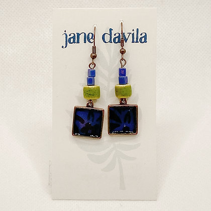 Earrings, Cobalt Copper Squares