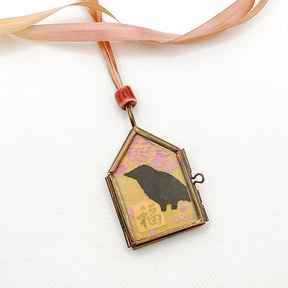 Necklace, Ochre Crow in a Copper House