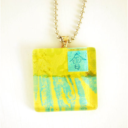 Necklace, Large Lime Square