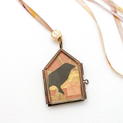 Necklace, Terracotta Crow in a Copper House