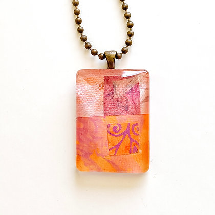 Necklace, Small Peach Rectangle