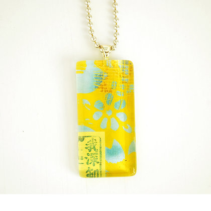 Necklace, Large Chartreuse Rectangle