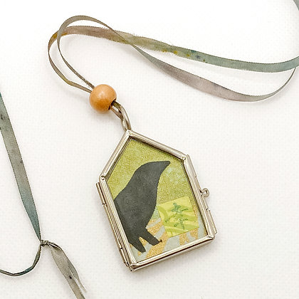 Necklace, Chartreuse Crow in a Silver House