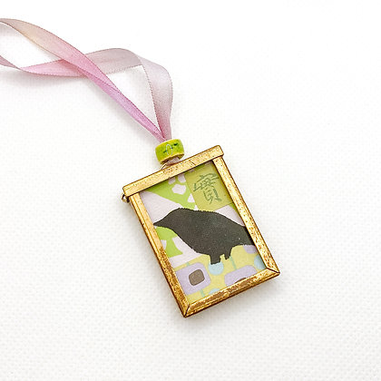 Necklace, Green & Orchid Crow in a Brass Frame