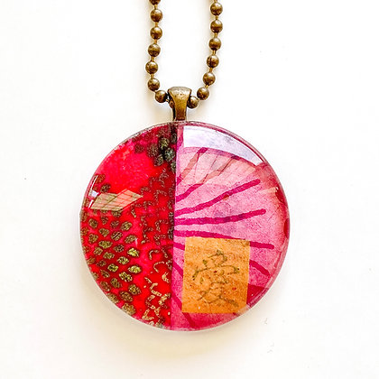 Necklace, Large Magenta Circle
