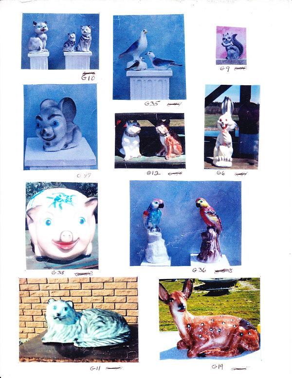Statues animaux (souris - cochon - lapin