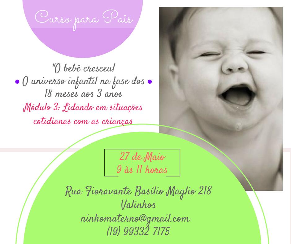 Curso para pais de bebês de 18 a 36m