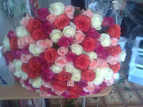 """Розы микс""""Радуга"""" из нескольких цветов Эквадор 50 см 101 шт."""