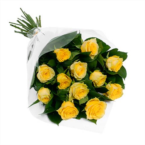 """Розы желтые """"Пенни Лайн"""" с зеленью 50см 15 шт.»"""