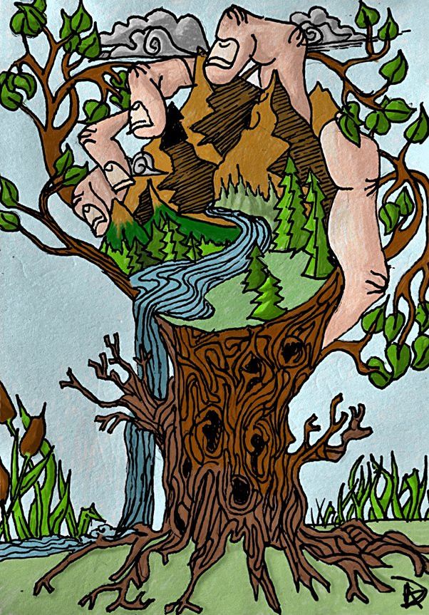 Raising Awareness of plants illustration by John Dalziel for Ancient and Sacred Trees