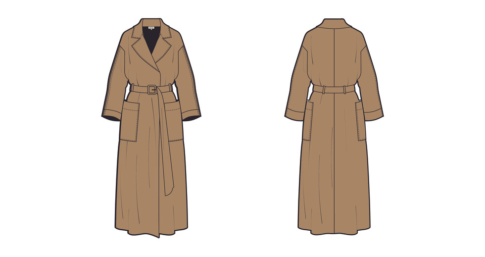 Illustrator Womenswear Trench Coat