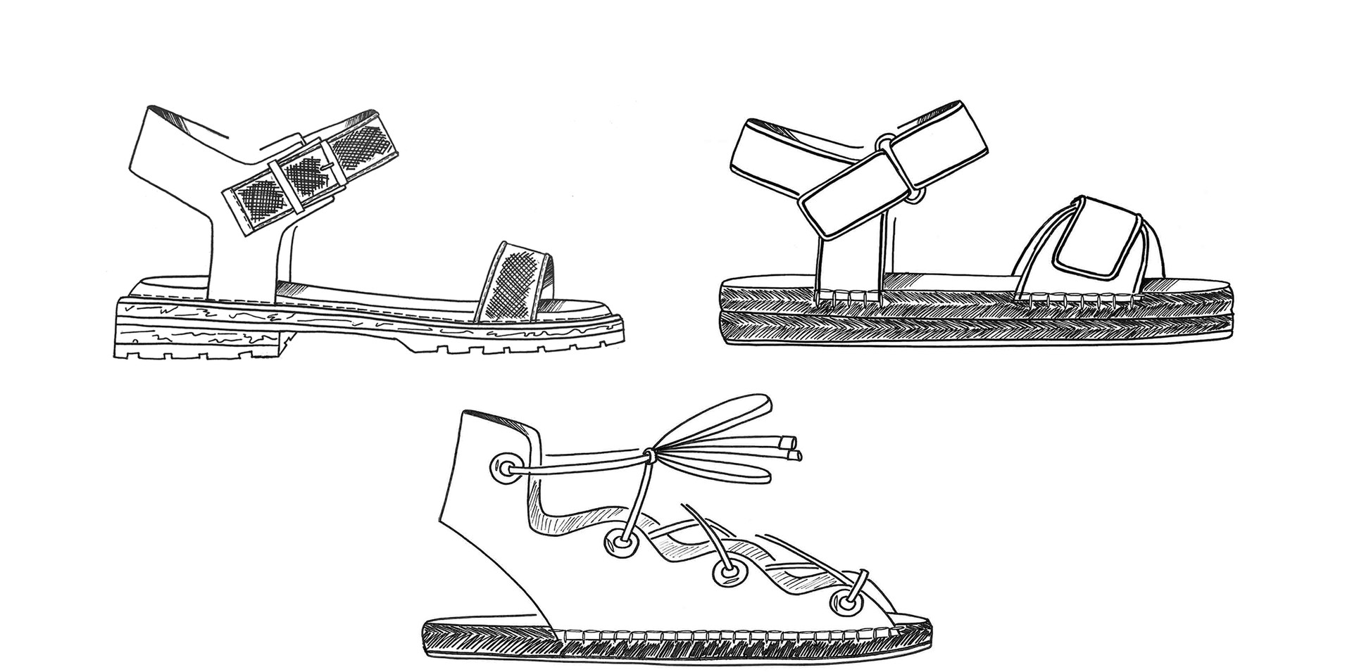 Illustration Sandals Footwear Hand Drawing