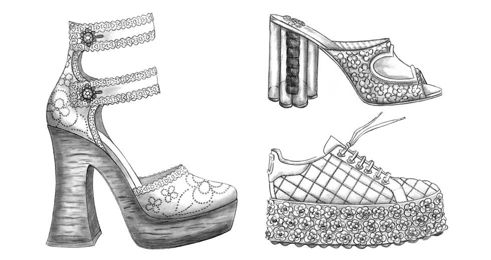 Illustration Sandals Footwear Hand Drawing