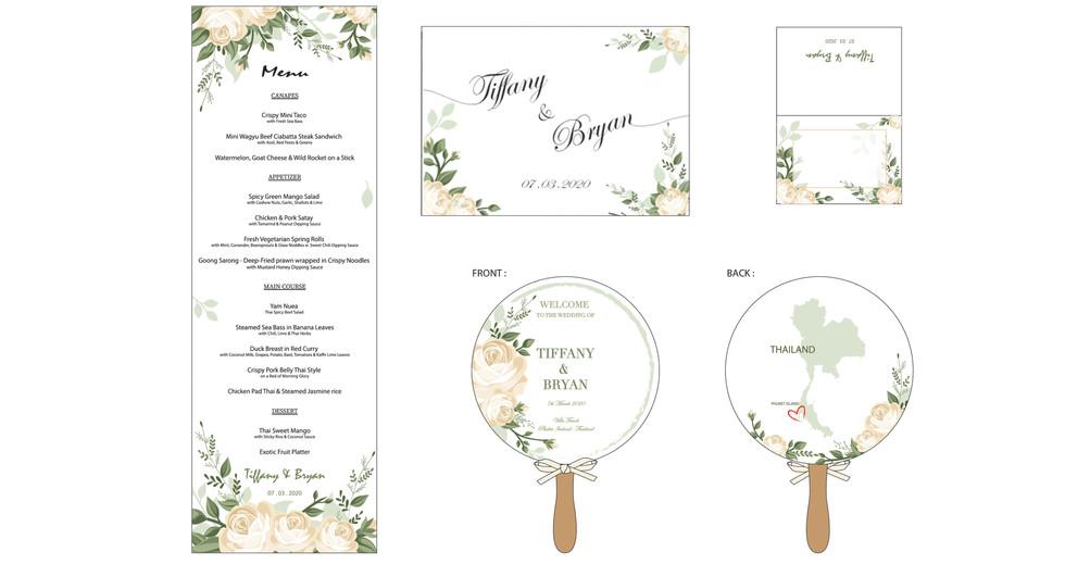 Special Ocassions Wedding Menu/Fan/Place Card