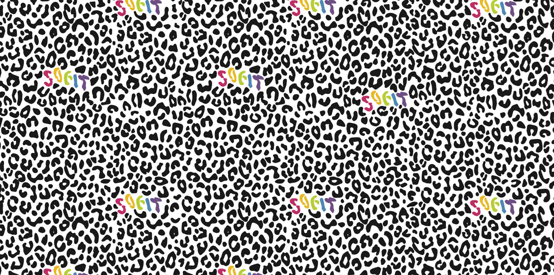 Pattern Design SOFIT Colour Logo with Black Leopard Print