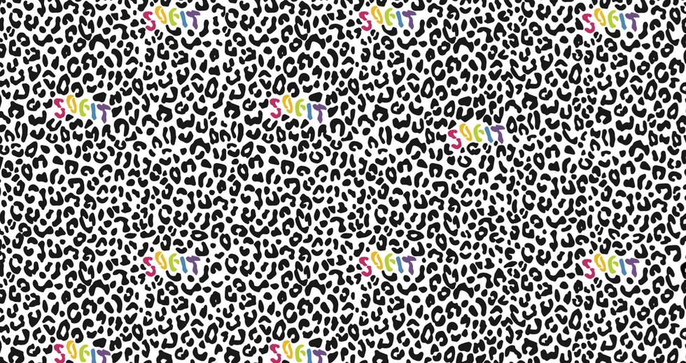 Pattern Design SOFIT Colour Logo with Black Leopard Print