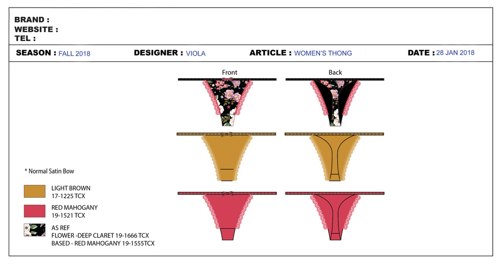 Technical Specification Sheets Underwear