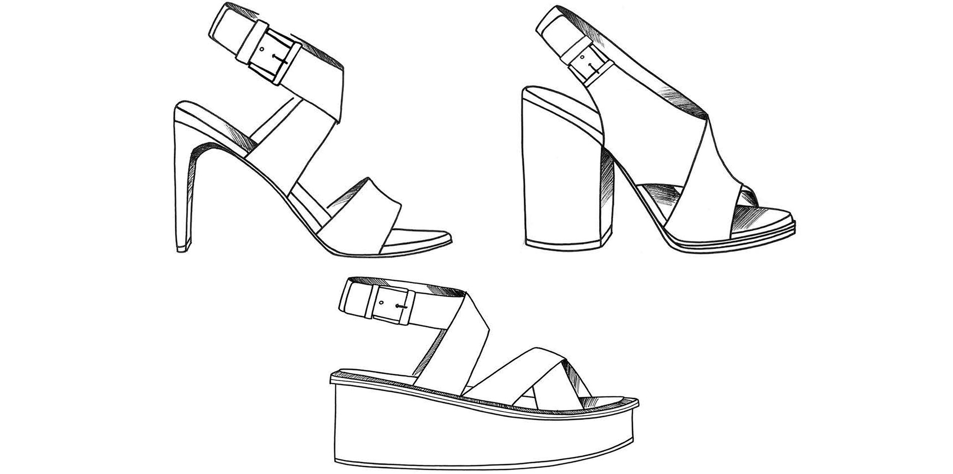 Illustration Sandals Heels Footwear Hand Drawing