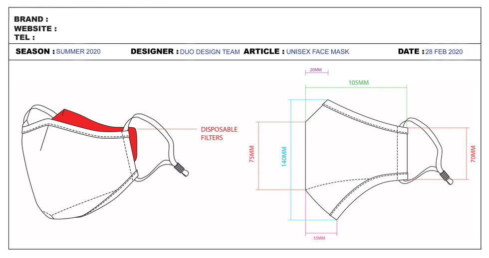 Technical Specification Sheets Face Masks
