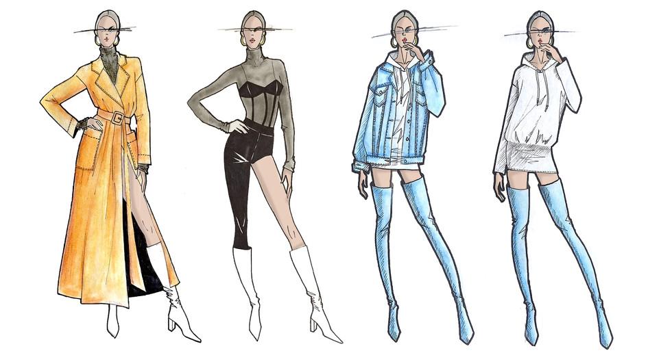 Illustration Fashion Design Womenswear Hand Drawing