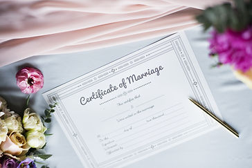 Closeup of Marriage Certificate License