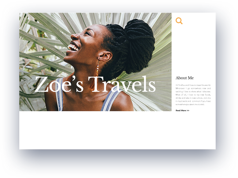 Large image of Zoe smiling in an example post.