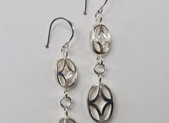 Oval Cross Bead Earrings