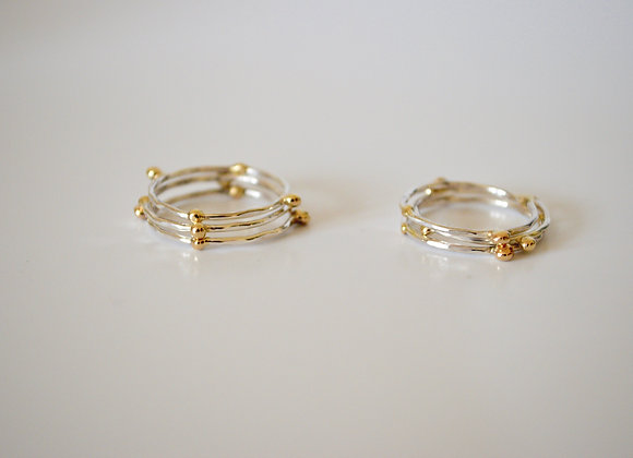 Celestial Silver and Gold Ring Set of Three