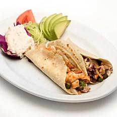 Tacos combinados de pulpo y camarón