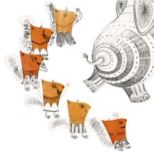 Six squirrels watch onion juggler