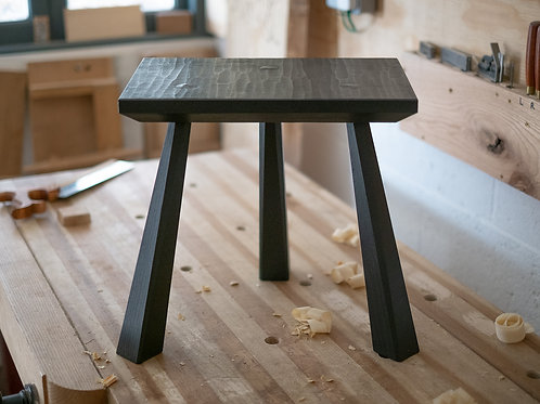 Carved Black Milking Stool