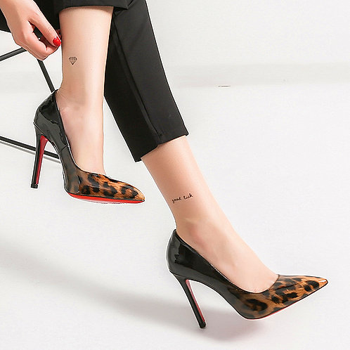 New Red Bottom High Heels in Leopard
