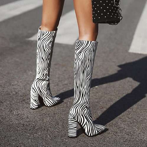 Knee High Boots Pointed Toe Chunky Block Zebra Boots