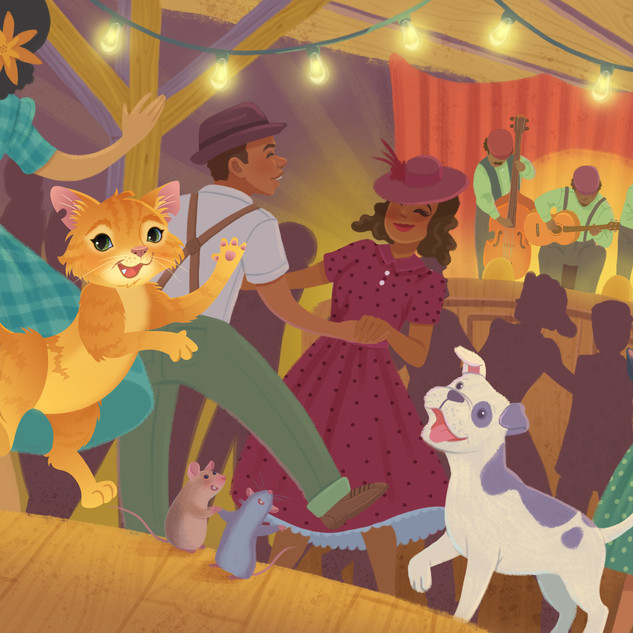 Spread from 'Sippi Sue and the Cool Cat Blues', digital