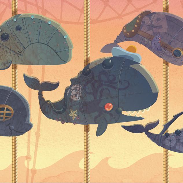 """Mecha-Whale Carousel"", personal work, digital/watercolor"