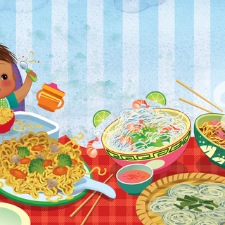 Spread from 'Noodles for Baby', digital