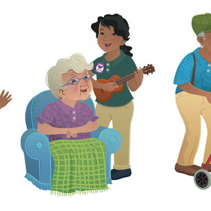 Character design for promo materials for Plaza Assisted Living, digital