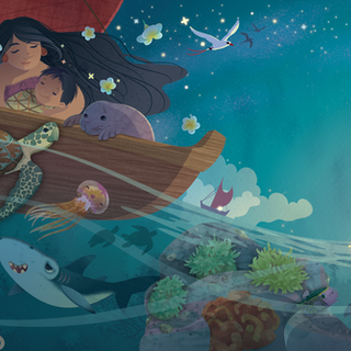 Spread from 'Hawaiian Ocean Lullaby', digital