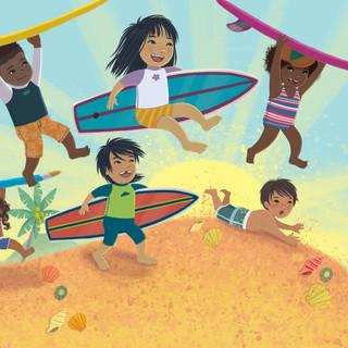 Spread from 'Ten Little Surfers', digital