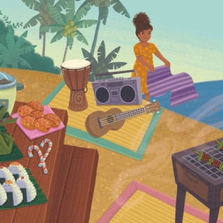 Spread from 'Hawaiian Christmas Day', digital