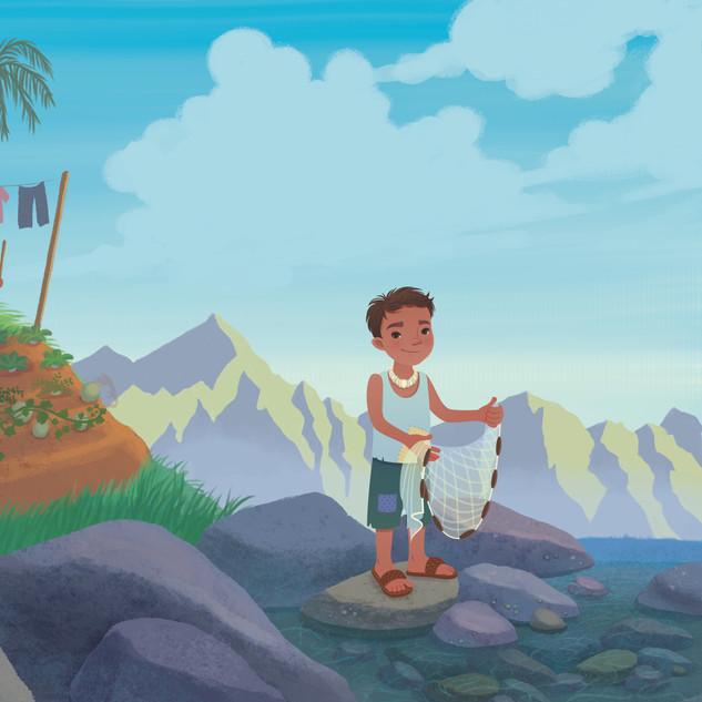 Spread from 'Keoki and the Secret Island', digital