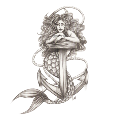Mermaid with anchor drawing illustration.