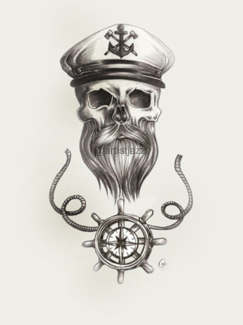 beard skull nautical tattoo pencil sketch with sailor captains hat and steering