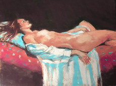 Reclining Nude with Blue Robe