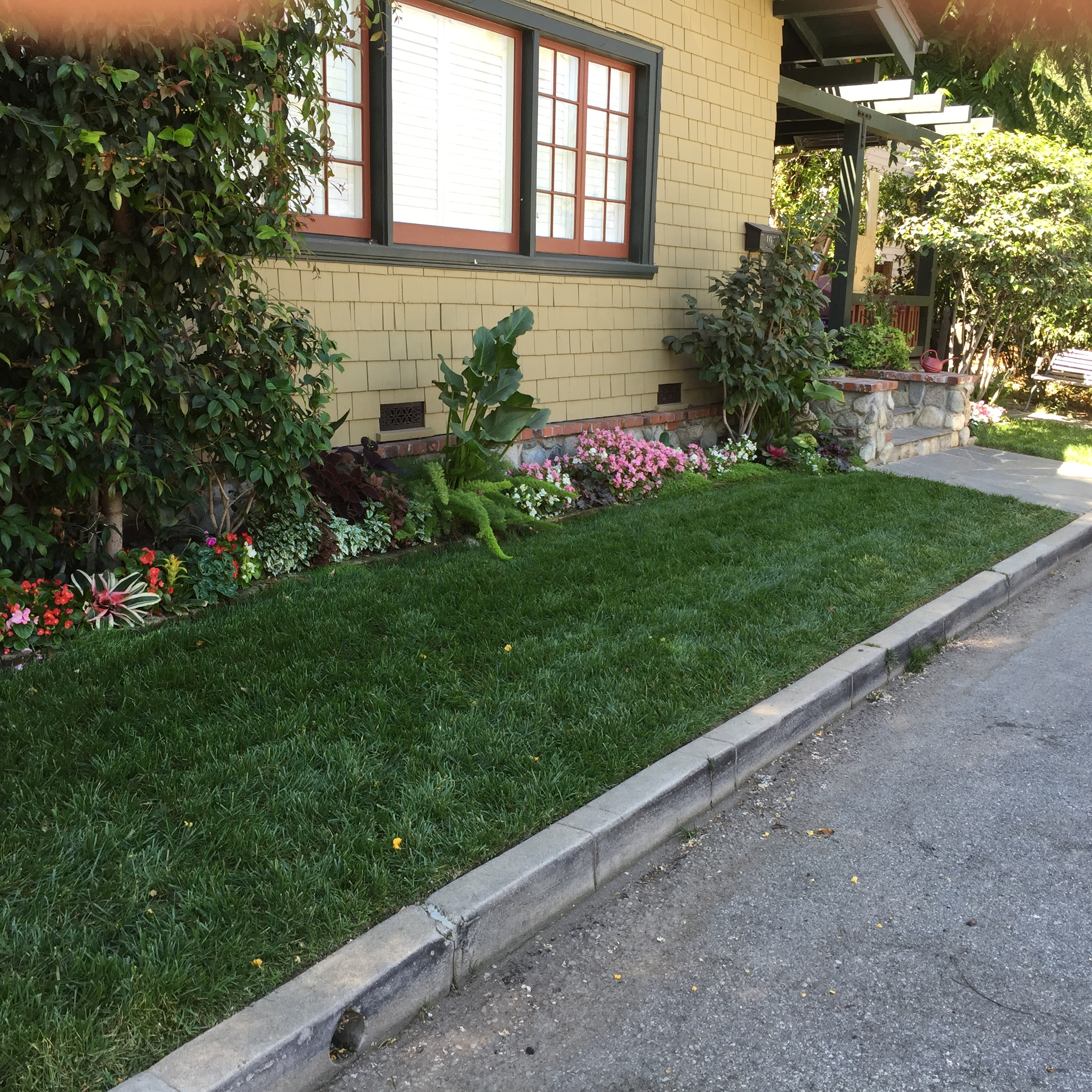 Flower plantings with lawn